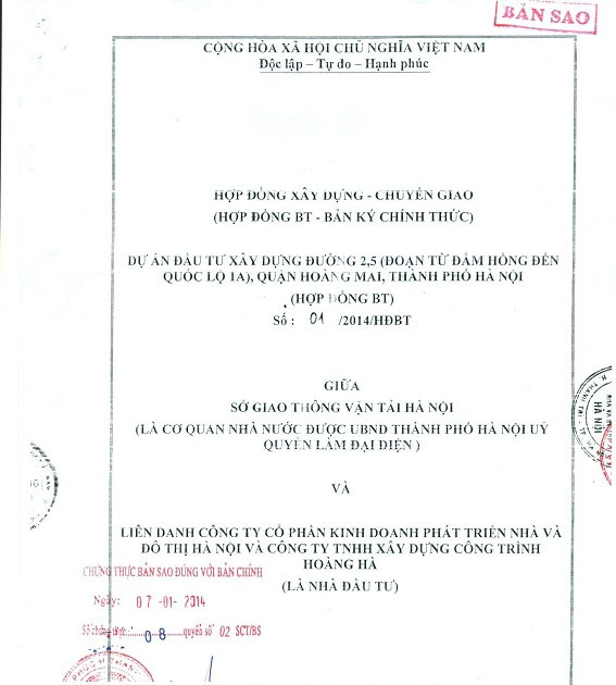 hợp đồng bt dự án Đại Kim Định Công