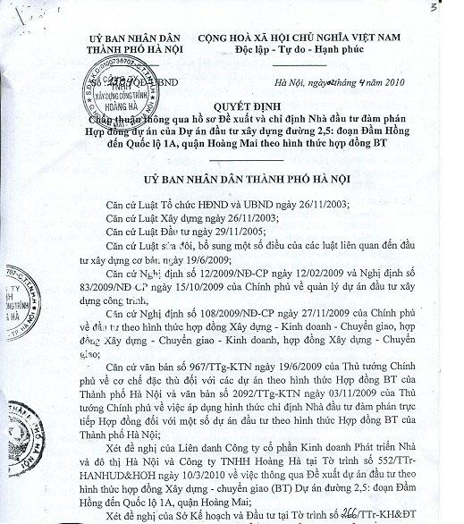 Quyết định giao đất dự án Đại Kim Định Công